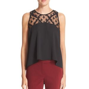 MILLY Illusion silk trapeze top hi lo swing blouse
